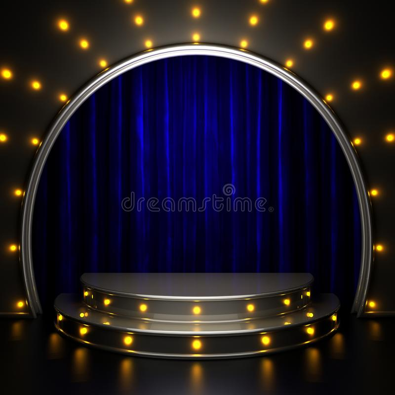 Blue curtain stage with lights. 3D rendered royalty free stock images