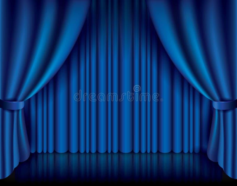 Blue curtain vector illustration royalty free illustration