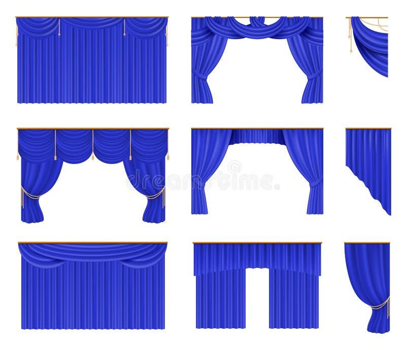 Blue curtains set. Realistic cinema and theater stage borders. Vector illustration silk elegant drapery royalty free illustration