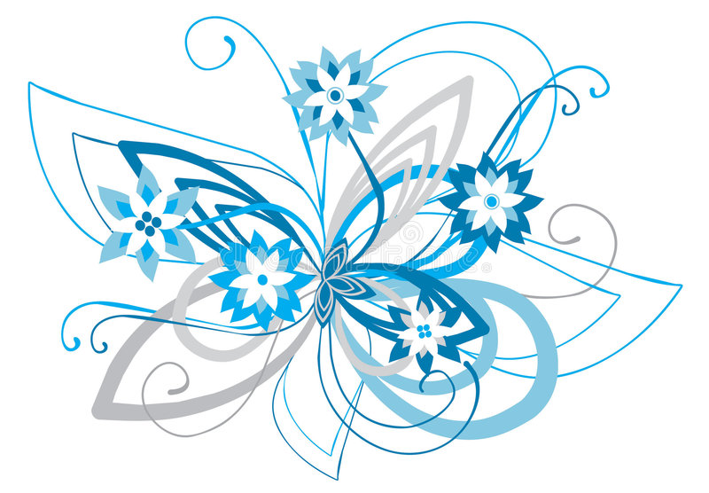 Blue curved floral ornament royalty free stock image