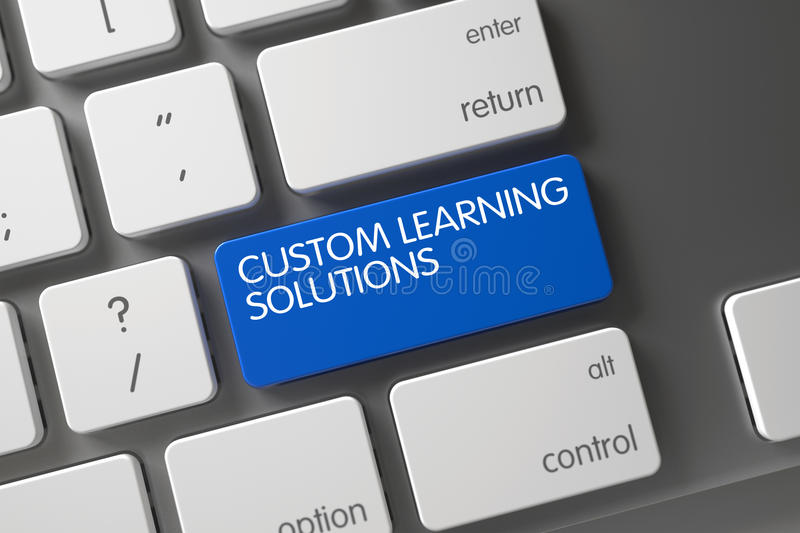 Blue Custom Learning Solutions Key on Keyboard. 3D. Custom Learning Solutions Concept: White Keyboard with Custom Learning Solutions, Selected Focus on Blue stock photos