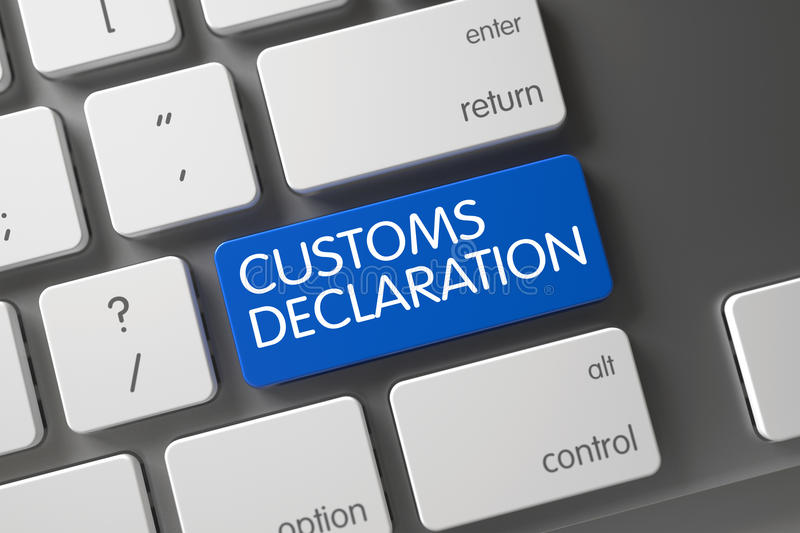 Blue Customs Declaration Key on Keyboard. 3D. Customs Declaration Concept Modern Keyboard with Customs Declaration on Blue Enter Keypad Background, Selected stock image