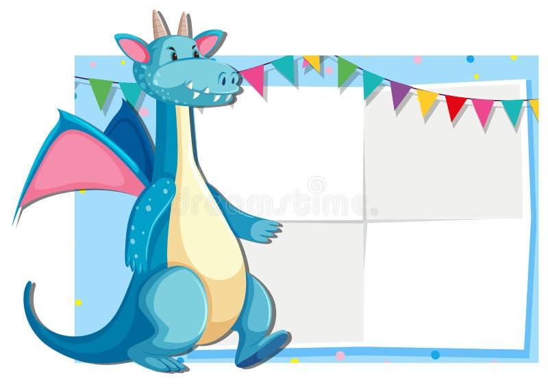 Blue cute dragon card template vector illustration