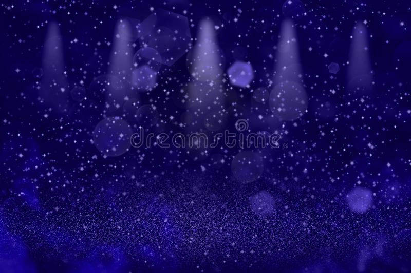 Blue beautiful bright glitter lights defocused stage spotlights bokeh abstract background with sparks fly, festival mockup texture. Blue cute glossy abstract royalty free illustration