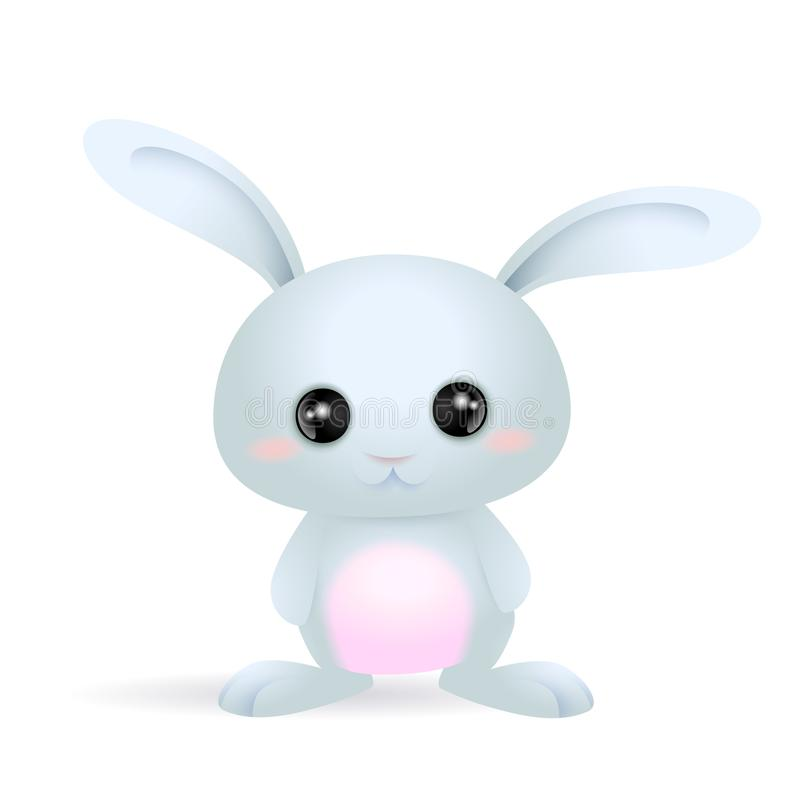 Blue cute little bunny with pink belly. And big eyes. can be used for easter cards or in kids illustrations royalty free illustration