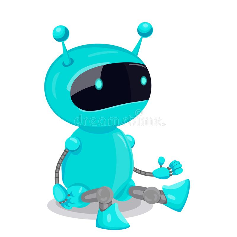 Blue cute robot isolated on white background. Vector graphics royalty free illustration