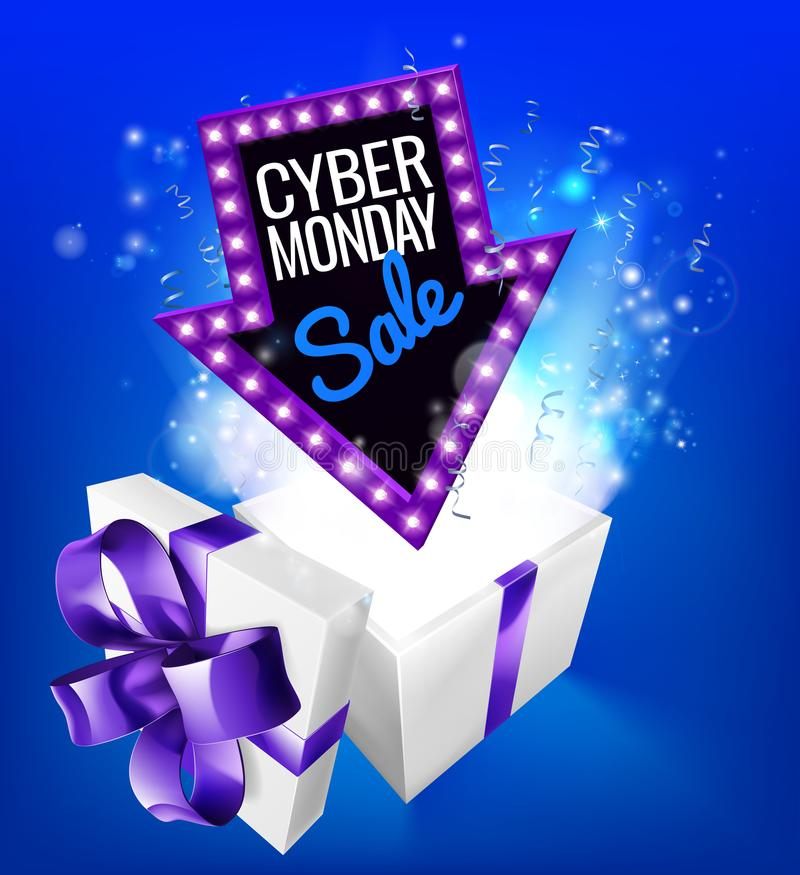 Cyber Monday Sale Gift Exploding Sign. A blue Cyber Monday Sale arrow sign exploding out of a gift box with a purple ribbon bow royalty free illustration