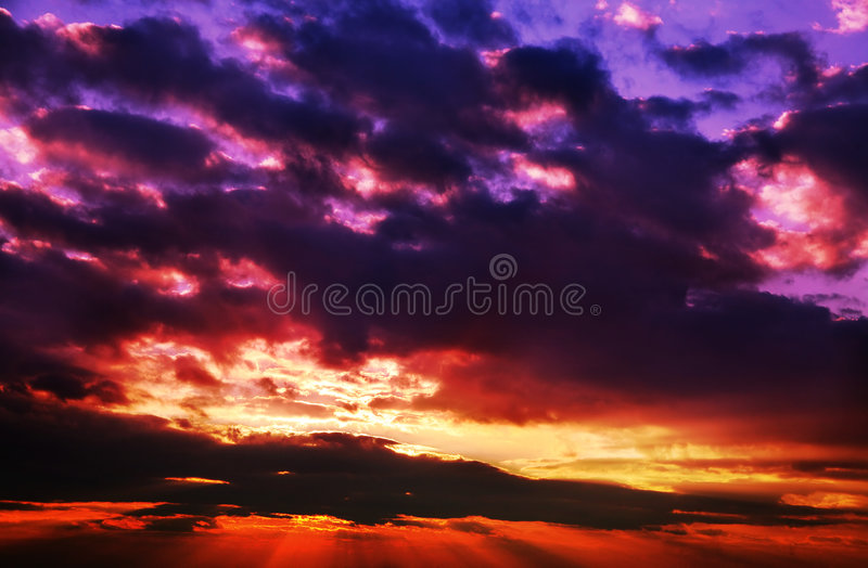 blue czerwony zachód słońca zdjęcia stock