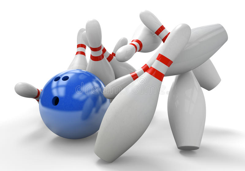 Blue 3D bowling ball smashing into pins for a strike stock illustration