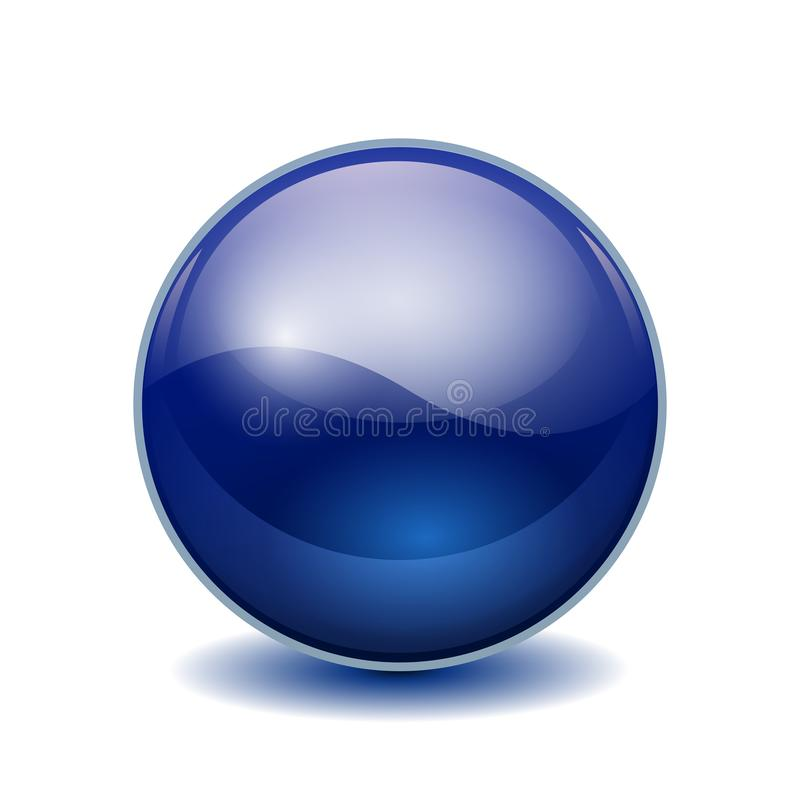 Blue 3D crystal magic sphere. Glass transparent ball with shadows – stock vector royalty free illustration