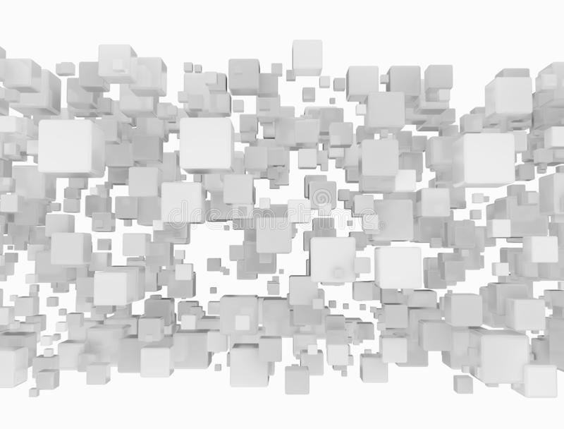 Abstract connected 3d cubes royalty free stock image