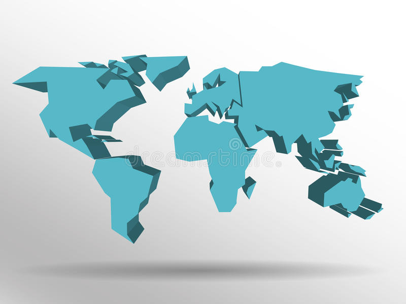 Blue 3D map of world with dropped shadow on background. Worldwide theme wallpaper. Rendered three-dimensional EPS10 royalty free illustration