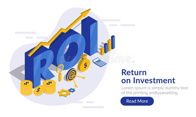 Blue 3d text ROI with infographic element, financial info chart vector illustration