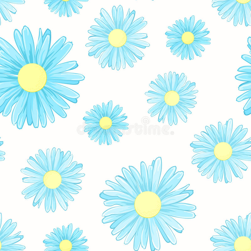 Blue daisy chamomile flowers seamless pattern royalty free illustration