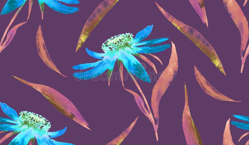 Blue daisy Echinacea flowers and leaves, hand painted watercolor illustration, seamless pattern design on purple background. Blue daisy Echinacea flowers and stock illustration
