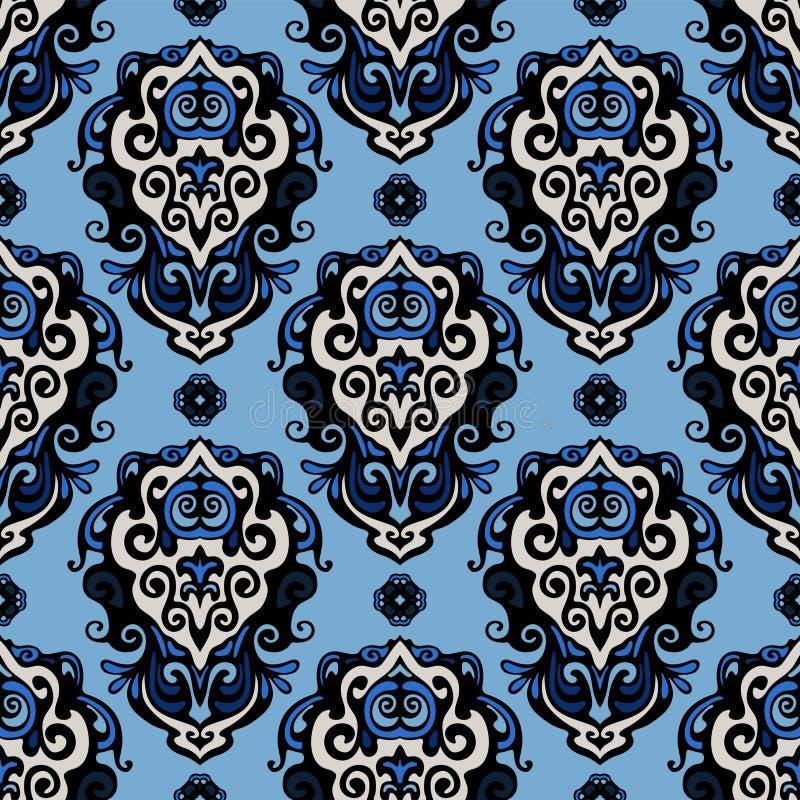Free Blue Damask Seamless Vector Pattern Stock Image - 38346791