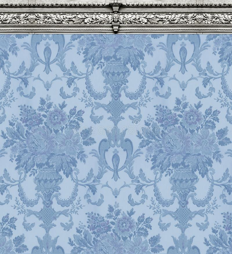 Blue Damask Wallpaper With Ornate Molding royalty free stock image