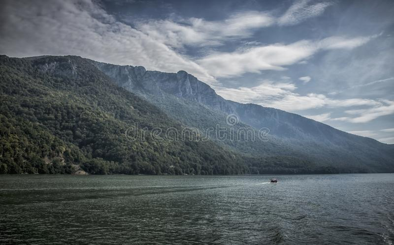 Danube at Djerdap gorge. Blue Danube and nature in Djerdap gorge in Serbia stock images