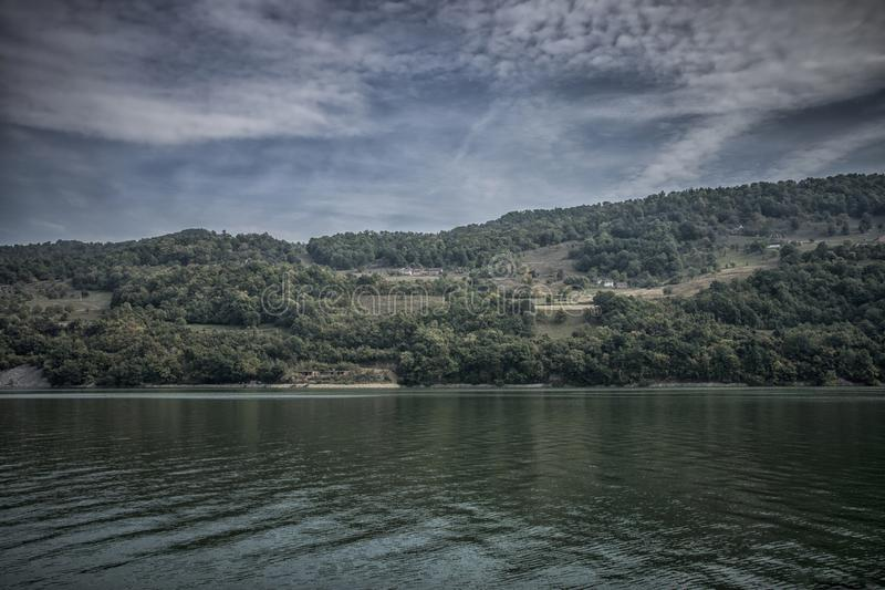Danube at Djerdap gorge. Blue Danube and nature in Djerdap gorge in Serbia stock photos