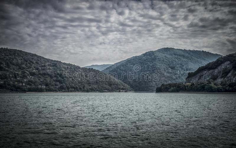 Danube at Djerdap gorge. Blue Danube and nature in Djerdap gorge in Serbia royalty free stock photos