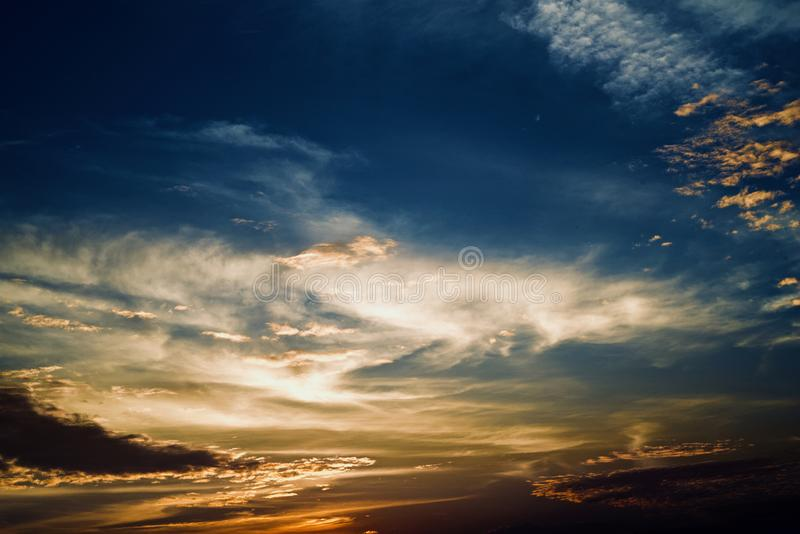Blue and dark dramatic afternoon sky photograph stock photography