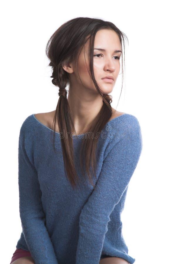 blue dark girl sweater στοκ φωτογραφίες με δικαίωμα ελεύθερης χρήσης
