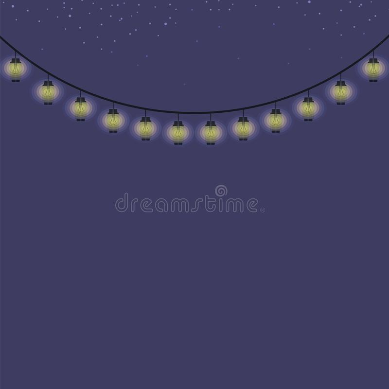 Blue dark night sky with colored lanterns on a string and stars vector illustration garden park light illumination illumination de. Blue dark night sky with vector illustration