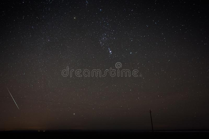 Blue dark night sky with many stars above field of trees. stock images
