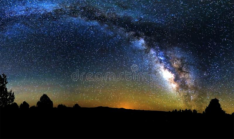Blue dark night sky with many stars above field of trees. Yellowstone park. Milkyway cosmos background royalty free stock image