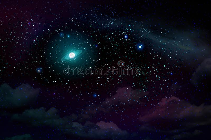Blue dark night sky with many stars and full moon. royalty free stock photo