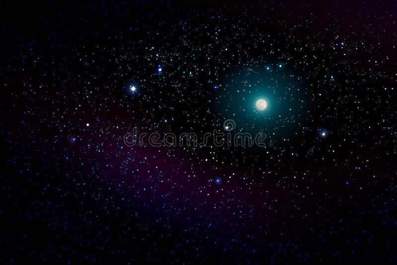 Blue dark night sky with many stars and full moon. stock photos