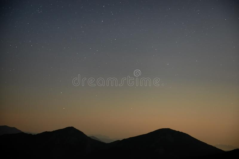Blue dark night sky with stars. Blue dark night sky with many stars. Space background stock images