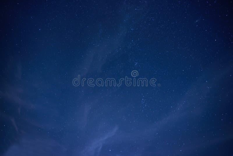 Blue dark night sky with many stars. Space background stock image