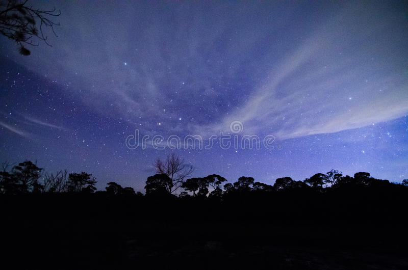 Blue dark night sky with stars. Blue dark night sky with many stars stock photos