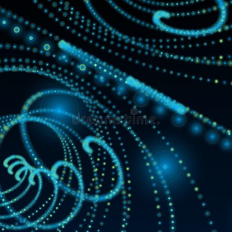Blue dark spiral matrix sphere background stock illustration