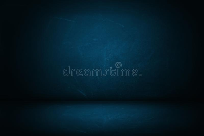 blue dark studio wall backdrop and background stock image