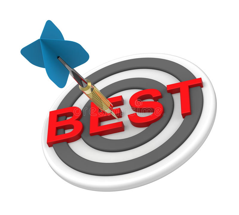 Blue dart hiting a target with text on it stock illustration
