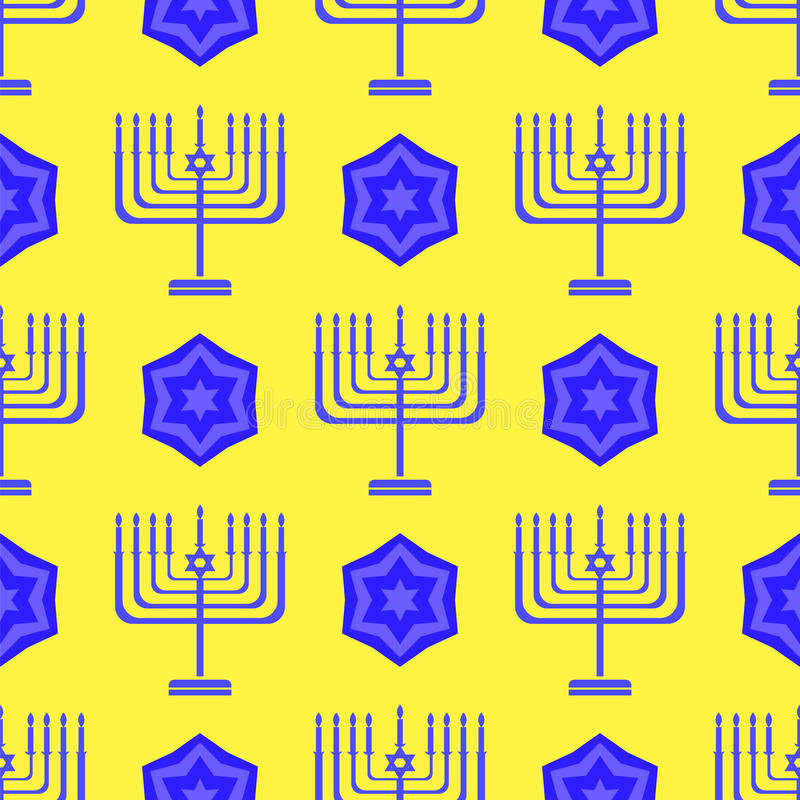 Blue David Star Menorah Seamless Background royalty free illustration