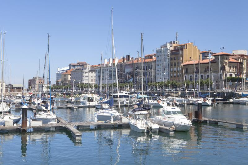 Blue day view of Gijon old Port, Asturias stock images