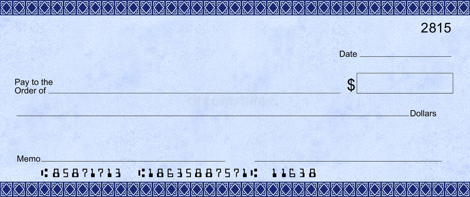 Blue Deco Check with false account numbers. Fake blank check that can be enlarged for sweepstakes or donations. Blank area to add company logo