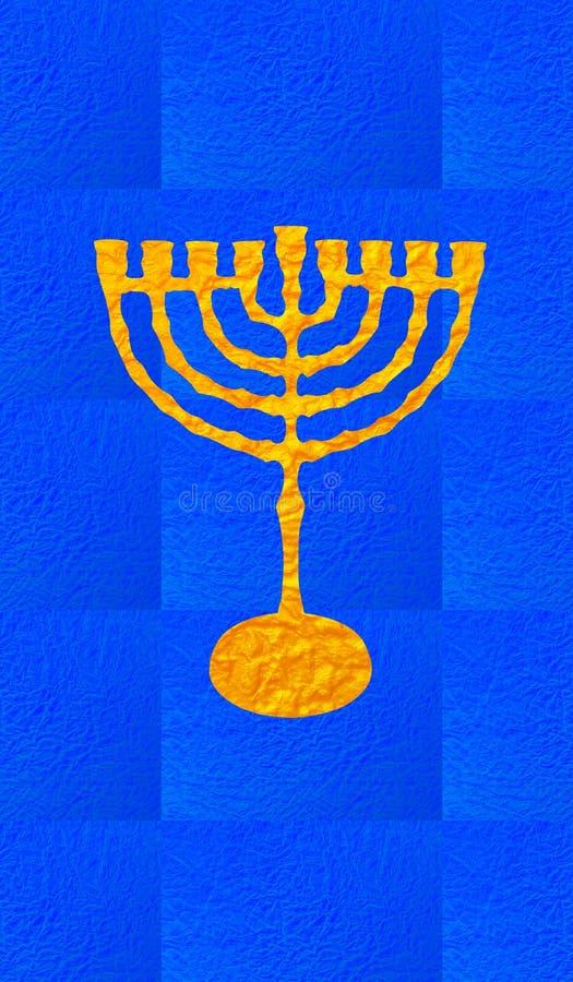 Blue decorative background. Vertical format for Smart phone. Yellow candelabrum, Hanukkah on blue background. Vertical format for Smart phone. Digital stock illustration