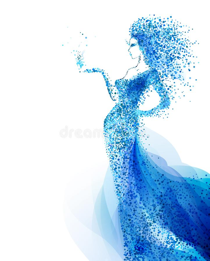 Blue decorative composition with girl. Cyan particles formed abstract woman figure. royalty free illustration