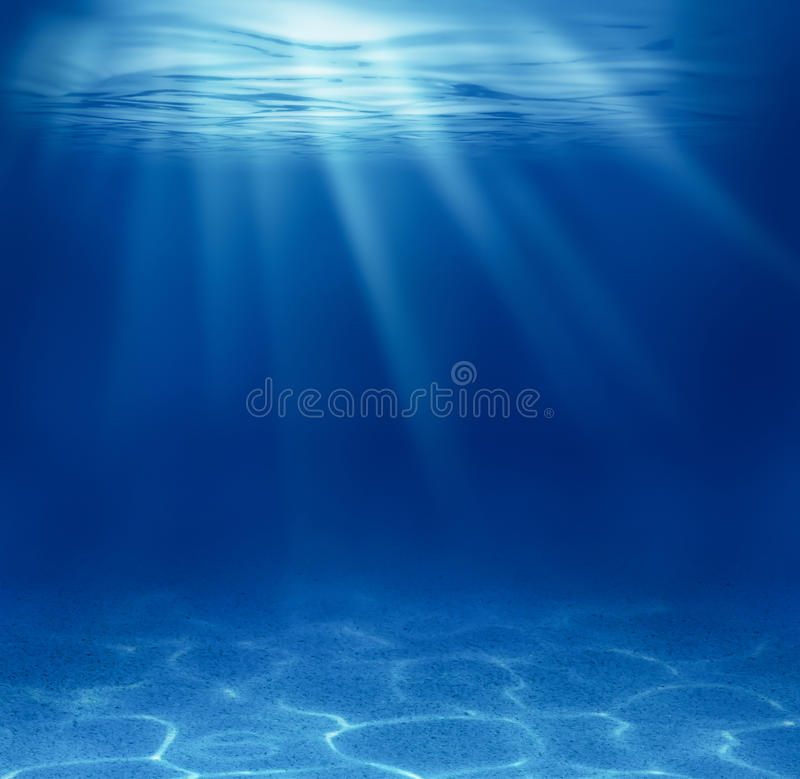 Blue deep sea underwater stock photo