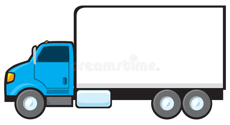 Blue Delivery Truck. A blue delivery truck with a blank side for text