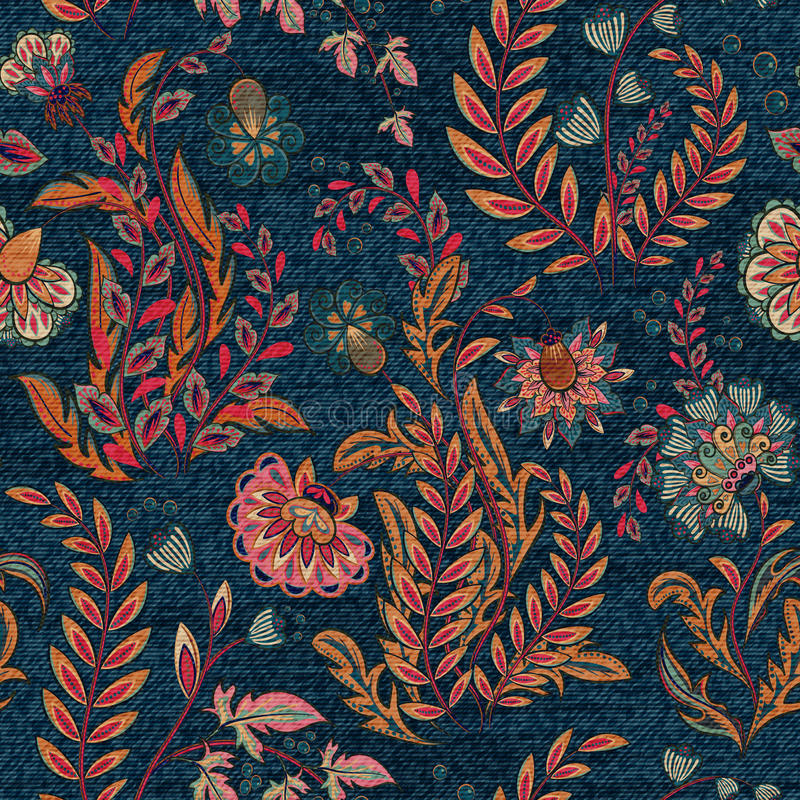 Blue denim with colorful floral print. Vector seamless wallpaper. royalty free illustration