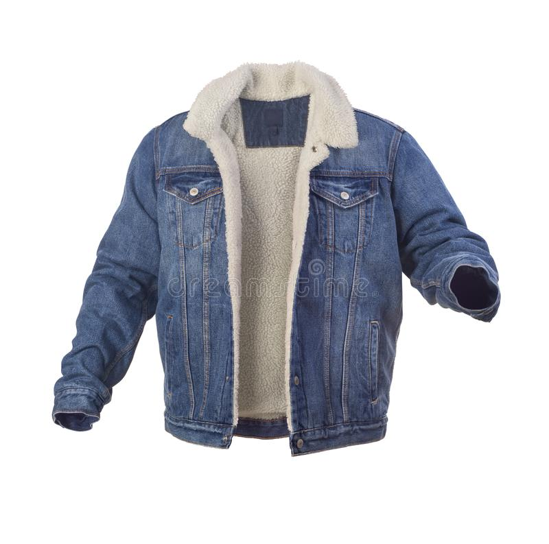 Blue denim jacket with fur. Isolated royalty free stock photo