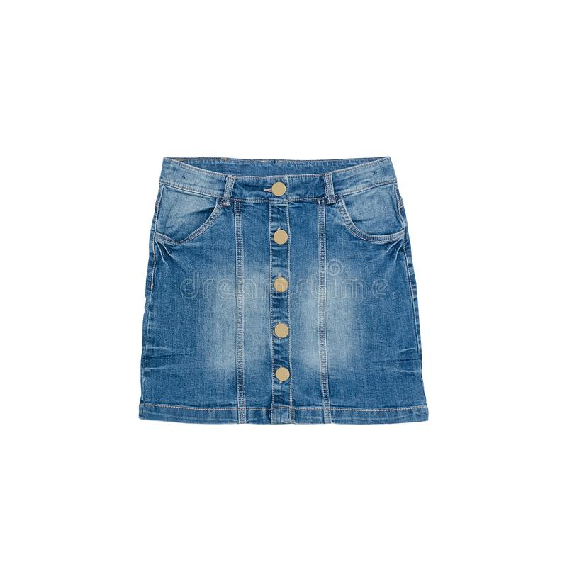 Blue denim skirt on a white background. Isolate. Fashion Concept.  royalty free stock photos