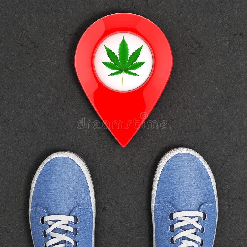 Blue Denim Sneakers on the Asphalt Road with Map Pointer Pins with Medical Marijuana or Cannabis Hemp Leaf Icon Top View. 3d. Blue Denim Sneakers on the Asphalt vector illustration