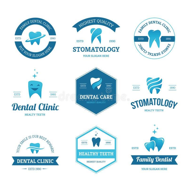 Blue dental labels stock illustration