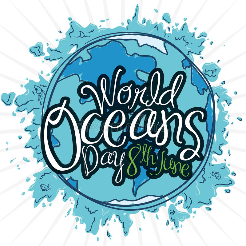 Blue Design with Splashes and Earth Planet for Oceans Day, Vector Illustration. Blue poster with Earth planet design in hand drawn style, splashes and reminder royalty free illustration